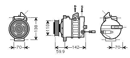 GOLF {Jetta 05-/Passat 05-/Octavia 04-/Touran 03-/A3 03-/Caddy 04-} КОМПРЕССОР КОНДИЦ (см.каталог) (AVA)
